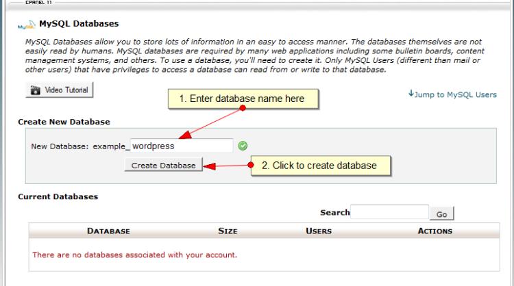 creare mysql database con cpanel
