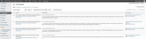 gestione commenti su wordpress