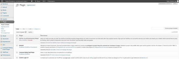pagina gestione plugin su wordpress