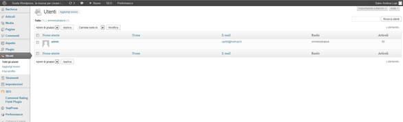 pagina gestione utenti su wordpress