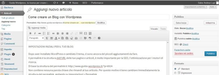 pannello amministrazione wordpress