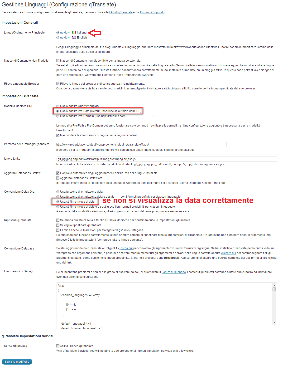 qtranslate seleziona italiano configurazione