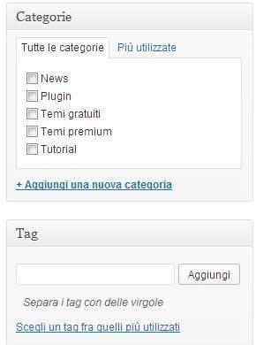 scegliere categorie e tag per articolo wordpress